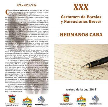 """XXX CERTAMEN DE POESÍAS Y NARRACIONES BREVES """"HERMANOS CABA"""""""